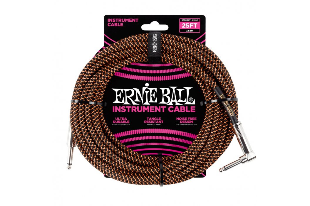 Ernie Ball 25' Braided Cable Black/Orange