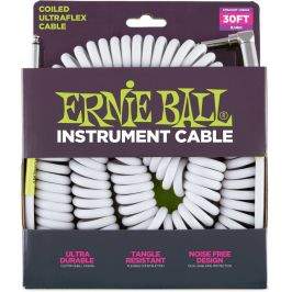 Ernie Ball 30' Coil Cable Straight/Angled White