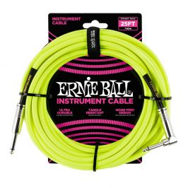 Ernie Ball 25' Braided Cable Neon Yellow