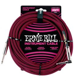Ernie Ball 25' Braided Cable Black/Red