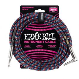 Ernie Ball 25' Braided Cable Red/Blue/White