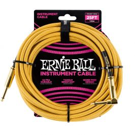 Ernie Ball 25' Braided Cable Gold